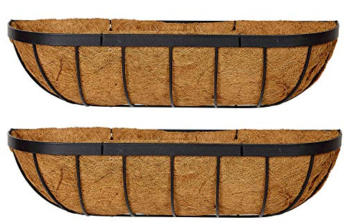 Photo of Ruddings Wood Set of 2 x 24″ (61cm) Metal Window Boxes – Garden Flower Wall Baskets – Wall Trough – Outdoor Hanging Window Sill Planters