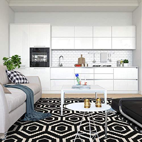 Moderne vloerkleden voor binnen Eenvoudige zwart-witte geometrische ruit-80 * 120cm, Tuintapijt voor binnen of buiten voor in de woonkamer of op het terras.