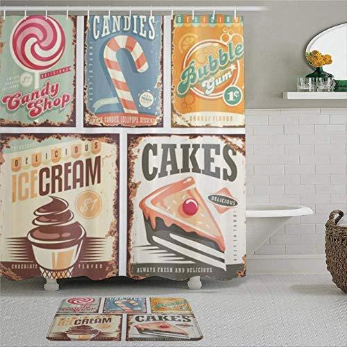 EricauBird Vintage Nostalgie 50er Jahre Candy Store Design & Eiscreme & Kuchen & Bubble Gum Bild Duschvorhang mit Ringen, Polyester Stoff Duschvorhang mit Haken Bad Badezimmer Dekor
