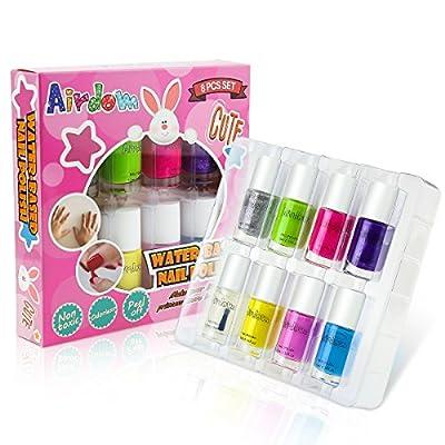 Airdom Non-Toxic Water-Based Kids Nail Polish - Natural Odorless Safe Peel Off Nail Polish Set Quick Dry Nail Polish Gifts Toys Kit for Girls Kids Toddlers 7 Colors and 1 Top Coat