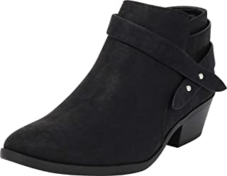 Cambridge Select Women's Western Wraparound Strap Chunky Stacked Heel Ankle Bootie