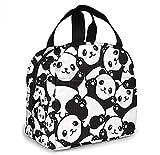 KEROTA Linda bolsa de almuerzo Panda para mujer aislada con bolsillo frontal para el trabajo reutilizable bolsa de almuerzo para oficina, escuela, picnic, senderismo playa