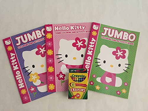 Hello Kitty 4pc Bundle Set Includes three 96 page Jumbo coloring & Activity Books and a 24 pack of Crayola crayons