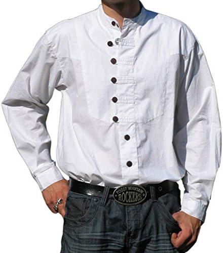 Hemad Camisa Medieval de algodón para Hombres Ache - Algodón - S - XXXL Blanco, Beige, Verde, Azul
