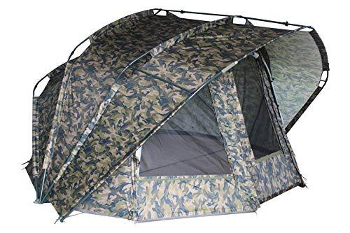 "MK Angelsport ""Fort Knox 2.0 – Camou"" 2 Personen Dome, Innenraumhöhe 165cm, Rain-Stop System-Waterproof, Ultraleichter Aluframe, Zelt inkl. Gummihammer, Heringe UVM."