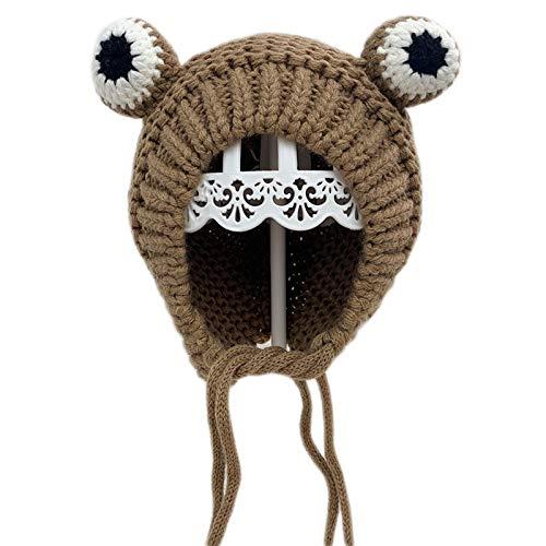 XINGYUE Gorro de punto para bebé de invierno, con diseño de rana, cálido forro de felpa, resistente al viento, con correa para la barbilla.