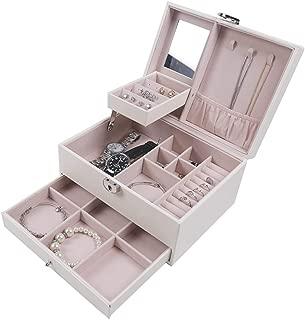 BEITEPACK Mirror Jewelry Organizer,Ivory PU Leather Functional Jewellery Holder GirlfriendGift Box with Lock Off-white