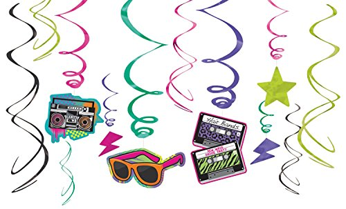 80s Twirl Decorations Pack. Well, I love these and you create an awesome twirly, swirly centrepiece with this pack of 12 hanging decorations which are so totally 80s, dude! Six of them feature a cut-out including cassettes, boombox, shades 80s geometric shapes.