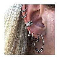 6PCS /セットチベットシルバーカラークリップイヤリングクリスタル亀パーム月合金耳カフジュエリー女性ビジュー、Fzhh068500008を設定します。