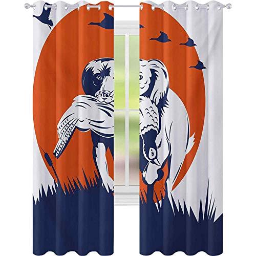 sovrumsgardiner, cocker spaniel ras hund hämtar fasan flygande ankor vid solnedgången, B 52 x L 95 ljusblockerande gardiner för barnkammare, mörkblå orange vit