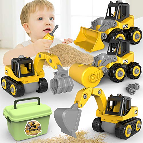 Take Apart Construction Vehicles, Toddler Assembly Truck Toys Play Set Bulldozer, Grab Loader, Road Roller, Excavator, Kid STEM Learning DIY Construction Toys Gift for 3 4 5 6 Years Old Boy & Girls