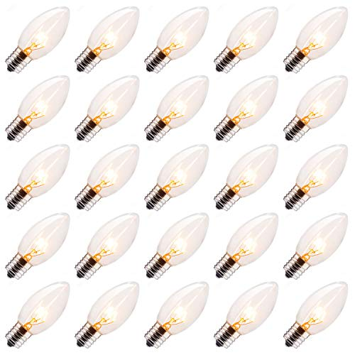 25 Pack C9 Incandescent Bulb, C9 Christmas Replacement Light Bulb for Christmas String Light, E17 Intermediate Base, 7 Watt, Clear