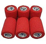 PintoMed - Vendaje cohesivo rojo estirado 6 rollos x 7,5 cm x 4,5 m vendajes flexibles autoadhesivos, calidad profesional, vendajes deportivos de primeros auxilios, paquete de 6