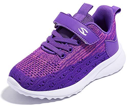 Gaatpot Niñas Zapatillas Deportivas Niño Zapatillas de Running Casual Transpirables Calzado de Running Correr para Exterior Interior Púrpura 25 EU