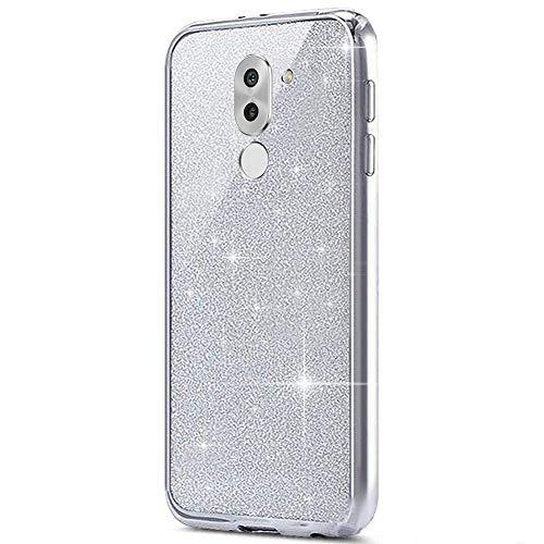 MoreChioce kompatibel mit Huawei Honor 6X Hülle,kompatibel mit Huawei Honor 6X Hülle Silikon Glitzer, 2 in 1 Silber Bling Strass Paillette TPU Flexible Chrom Handyhülle Kratzfeste Bumper,EINWEG