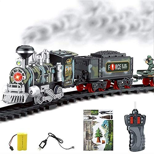 Kedorle Electric Remote Control Conveyance Train Steam Smoke Model Set Toys Gifts for Toddlers 3 Years Over Kids Perfect Birthday Best New Year Christmas Toy Gift (Color : Red)