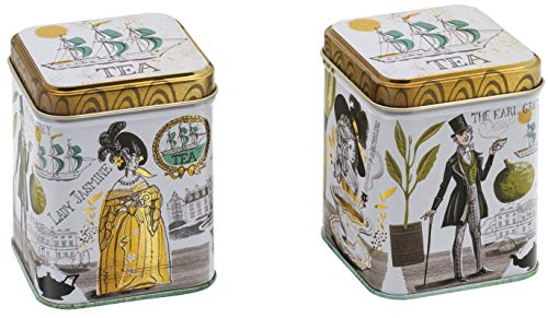 Elite tins Thee Tin Klein - 100gm Vierkant Dame Jasmijn en De Vroege Grijze thee tin - 75 x 75 x 93mm