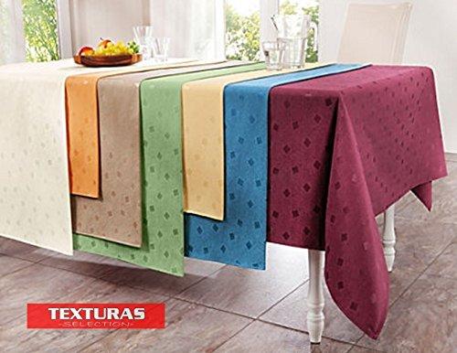 Texturas Selection Mantel Antimanchas LONETA RESINADA Color Liso Impermeable Tamaños Especiales (6 Colores Disponibles) TISCHDECKER DOUISBURG (140x190 Oval, Verde)