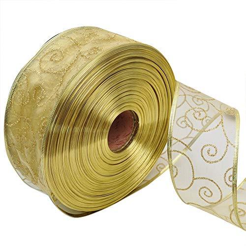 LAAT Cinta de Raso Correa de Regalo de Decoración de Navidad Rollos de Cintas Grosgrain Ribbon Decorativa de Bricolaje Craft Size 2 m (Amarillo)