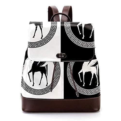 Mochila casual de cuero de la PU para los hombres, bolso de hombro de las mujeres estudiantes mochila para viajes negocios universidad romana caballo con alas