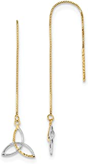 14k Yellow Gold Link Box Chain Irish Claddagh Celtic Knot Tassel String Threader Earrings Drop Dangle Fine Jewelry For Wom...