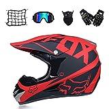 Novopus:Cross Helmet Moto, Noir et Rouge, Casque de Motocross Adulte avec des...