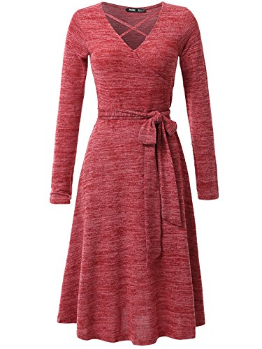 JayJay Women Casual Caged Neck Long Sleeve Knit Sweater Faux Wrap Dress With Bow Belt,Red,S