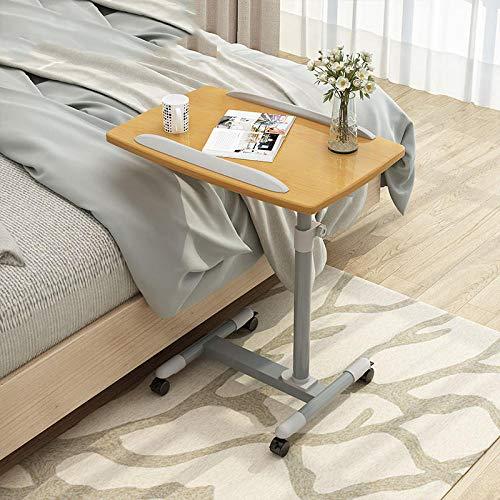 CHOUE Eisen Beistelltisch Für Pflegebett mit Gelbes PVC-Panel,Höhenverstellbar, Abschließbare Rollen, Faltbar,Schreibtisch für Schlafsofa Home Office Möbel