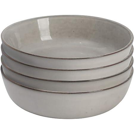 ProCook Oslo - Vaisselle de Table en Grès - 4 Pièces - Assiette Creuse à Pâtes - 20cm - Glaçure Réactive - Gris