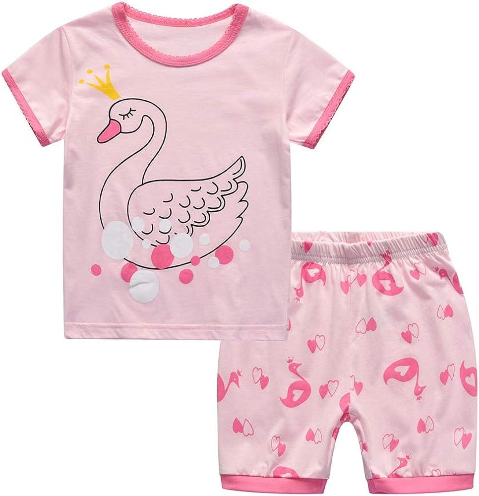 Toddler Boys Girls Short Sleeve Pajamas Cotton 2 Piece Short Sets Kids Summer Sleepwear Clothes Set (Swan, 5-6 Years)