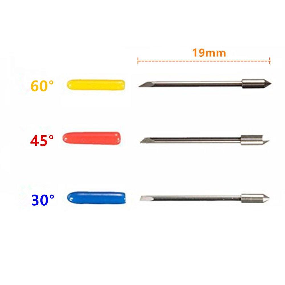 vcca CB09 CB09U Graphtec hoja soporte base con 15 piezas 30/45/60 Grado Cuchillas de corte de precisión de corte plotter vinilo cortador Silhouette Cameo: Amazon.es: Electrónica