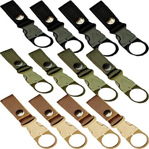 Taktischer Schlüsselanhänger,Biluer 12PCS Multifunktions Outdoor Gurtband Flaschenhalter Wasserflaschenhalter Flasche Clip Werkzeug für Outdoor Wandern Camping Angeln(Schwarz, Militärgrün,Khaki)
