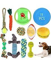 Juguetes para Perros GeeRic 11pcs Juguetes para Masticar Perros + Cuerdas de algodón para Perros + Frisbee para Perros + Juguete chirriante Juguete para lanzar Entrenamiento de Perros pequeño Grande