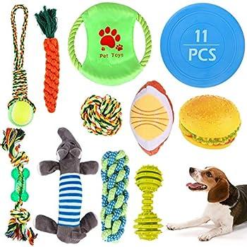 GeeRic 11PCS Jouets pour Chiens Jouets à Mâcher pour Chiens + Cordes en Coton pour Chiens + Frisbee pour Chiens + Jouet Grinçant Durable Jouet de Lancer Interactif Formation de Chien Petit Grande