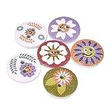 Botones 50pcs nueva flor imprimió alrededor del botón de madera de 2 agujeros de 15 mm de madera mezclaron los botones de costura Accesorios for la ropa de la decoración DIY vintage (Color : A 06)