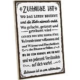 ARTFAVES® Holzschild mit Spruch - ZUHAUSE IST ES AM SCHÖNSTEN/Vintage Deko Shabby Chic/Holzbild als Geschenk für Frauen & Männer