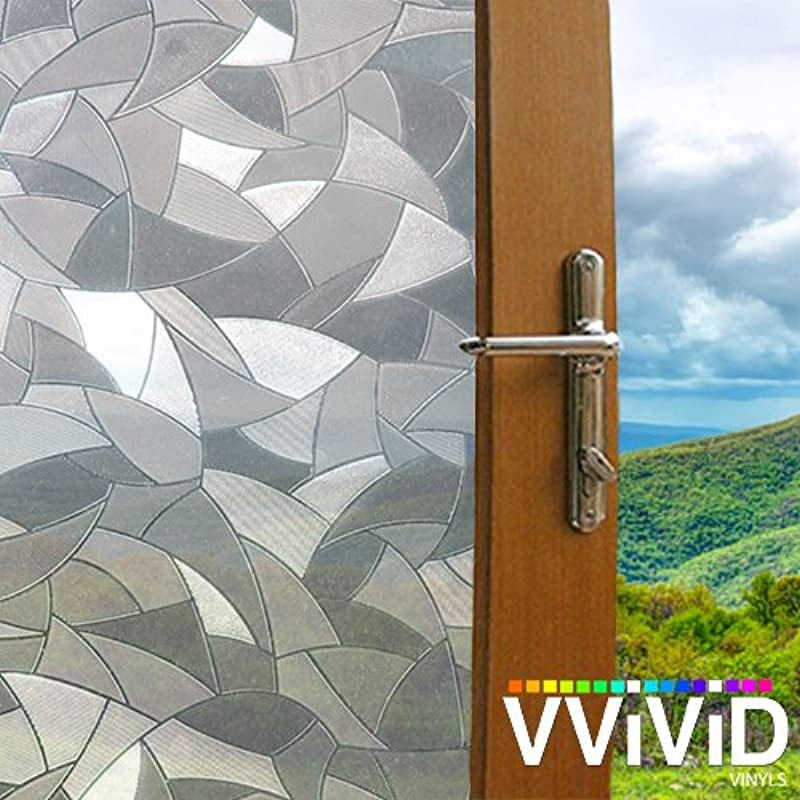 VViViD Shard Mosaic Static Cling Privacy Film Decorative Window Vinyl Decal For Bathroom Kitchen Home Office Easy DIY Easy Install Adhesive Free 36 Inches X 1 49 Inches