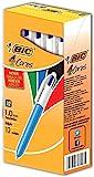 BIC 4-Color Ballpoint Retractable Pen, Assorted Ink, Medium, Pack of 12