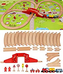 High quality beech wood train trucks and accessories with a beautiful scenery map of Shinington Town or Village 130 CM X 80 CM (51.2 X 31.5 Inches). This is the new addition to the popular Shinington Log Cabin Farm building set and puzzles. The delux...