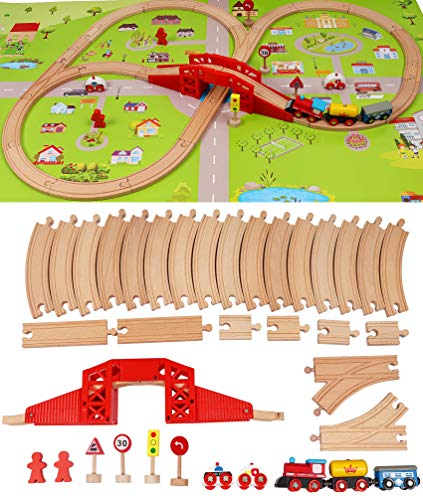 TOWO Pista trenino legno set ferrovia in legno con mappa della città - pista trenino legno Shinington Giocattoli da costruzione per 3 anni Bambini bambine- Pista treno legno Regalo per bambini 345anni