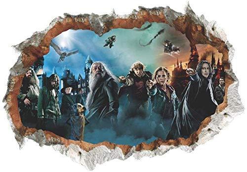 Zhongyanxin 3D Brisé Mural Harry Potter Personnage Scène Poudlard Château Mural Autocollants Autocollants Décor Maison
