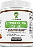 Dark Chocolate Keto Collagen Protein by VitaMonk™ - Ketogenic Diet Snack for The Low-Carb Lifestyle - Grass-Fed Hydrolyzed Collagen Peptides Shake Mixed with MCT Oil Powder