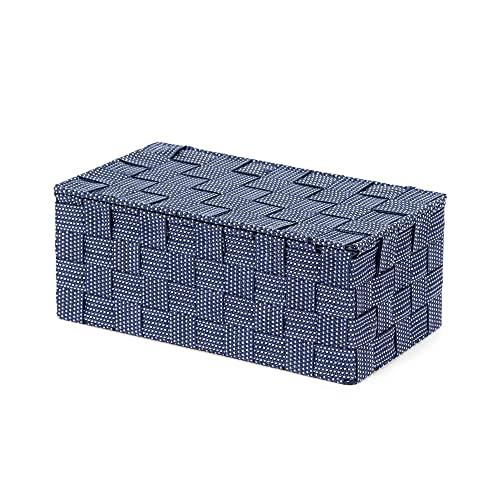 Compactor, Boîte avec Couvercle, Sangle Tressée, Bleu, Dimensions: 27 x 15 x H.11 cm, RAN8564