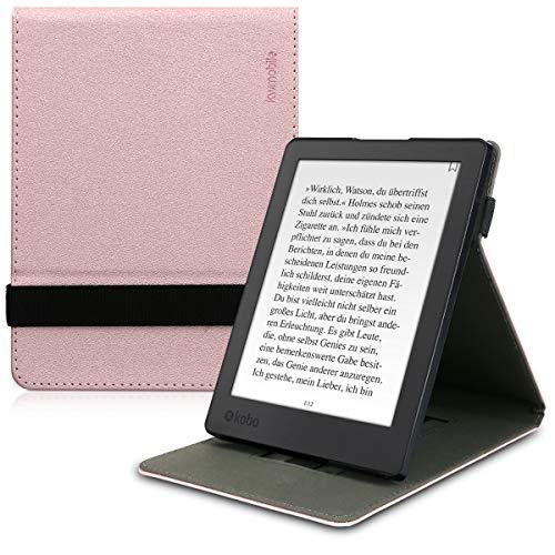 kwmobile Hülle kompatibel mit Kobo Aura H2O Edition 2 - Schlaufe Ständer - e-Reader Schutzhülle - Rosegold