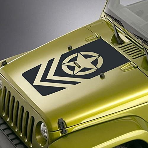 Hood Decal Fits Jeep Tucson Mall Wrangler TJ YJ JK Army Black - Star 100% quality warranty Chevron