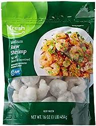Fresh Brand – Raw Medium Peeled & Deveined Tail Off Shrimp (41-50 Count/Pound), 1 lb (Frozen), Respo