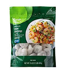 Fresh Brand – Raw Medium Peeled & Deveined Tail Off Shrimp, 1 lb (Frozen)