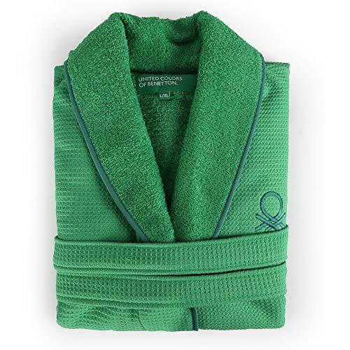 UNITED COLORS OF BENETTON. Albornoz m/l 360gsm Nido Abeja 100% algodón Verde Casa Benetton
