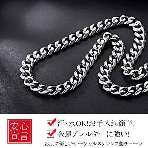 『ChainsHouse 65cm 12mm 6面カット 喜平 ネックレス チェーン メンズ シルバー ステンレス 金属アレルギー対応 アクセサリー』の3枚目の画像