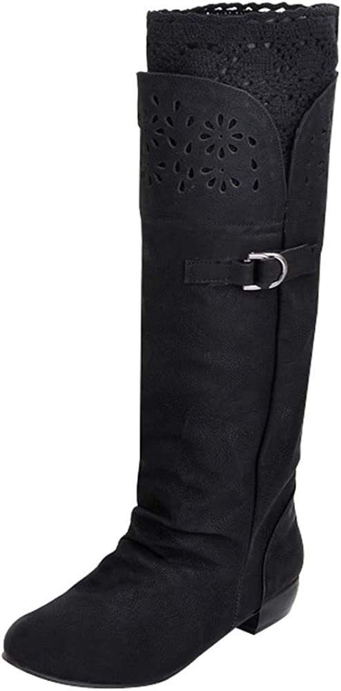 Xudanell Gorgeous Botas De Mujer Riding Boot S NEW Round Knee-High Toe Rubber